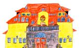 Die Pestalozzi Grundschule Weimar gezeichet